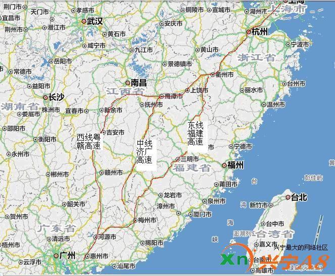 广州到梅州的地图