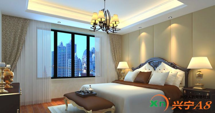 美式风格装修卧室图片