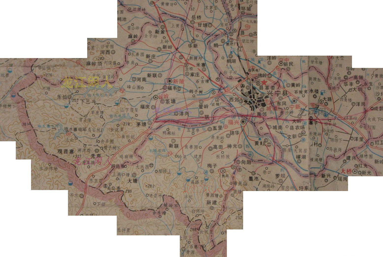 [原创]乡镇地图:县城新陂宁中石马永和 - 兴宁掌故