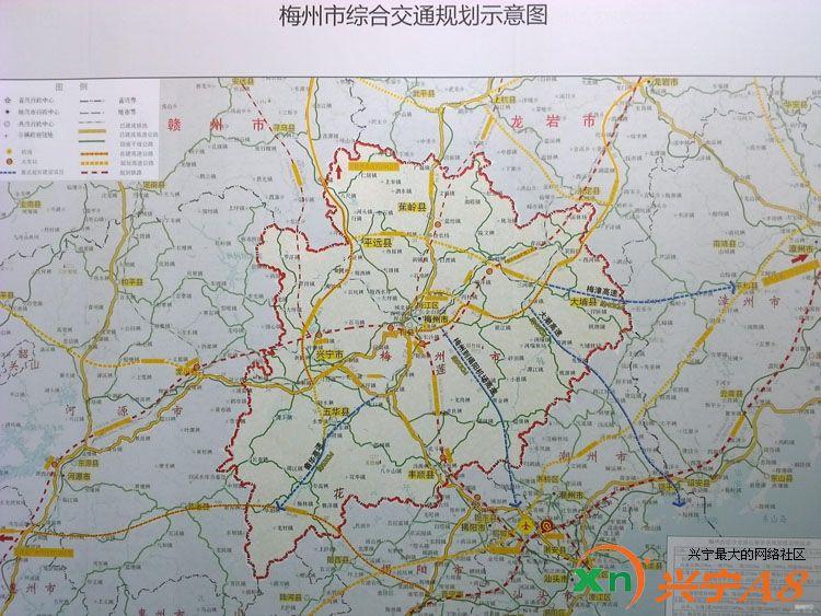梅州高速公路,铁路规划图