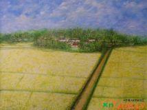 罗建辉作品:我的故乡(希望在田野)兴宁大坪镇祠堂村巩兴围的风采。