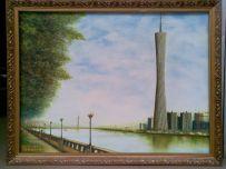 广州新电视塔(小蛮腰)罗建辉画于建设中电视塔